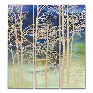 evening branches wall dcor set of 3 panels With kitchen cabinets lowes with metal tree branch wall art