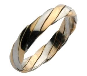 4mm 9ct gold two colour twist design wedding ring band two colour at elma uk jewellery