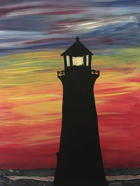 simple  easy lighthouse painting ideas  beginners