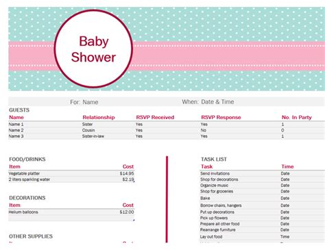 baby shower planner template baby shower planner