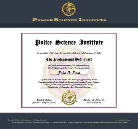 certification courses vip protection courses at science institute
