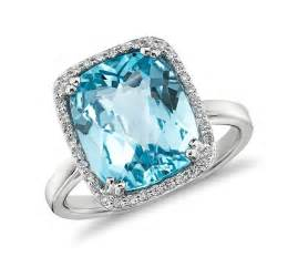 blue wedding ring sky blue topaz and halo cushion cut ring in 14k white gold 12x10mm blue nile