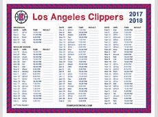 Printable 20172018 Los Angeles Clippers Schedule
