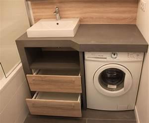 amenager une salle de bain de 4m2 qui comprend un lave With meuble salle de bain lave linge