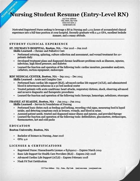 Resume Exles For Nursing Students by Cv Resume Templates Save The Pin In Your