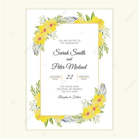 Wedding Invitation With Yellow Hibiscus Flower Frame