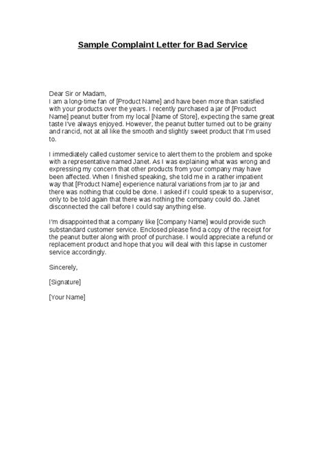 Image result for sample of complaint letter for bad