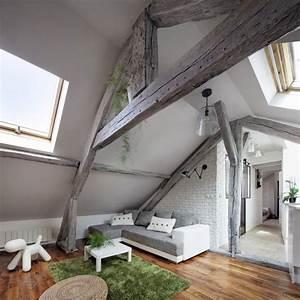 plafond poutre apparente pour apporter une touche rustique With wonderful peindre une entree et un couloir 4 sejour peinture des idees pour peindre un mur du salon