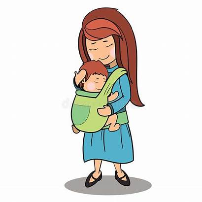 Cartoon Mother Characters Child Attachment Carrying Vector