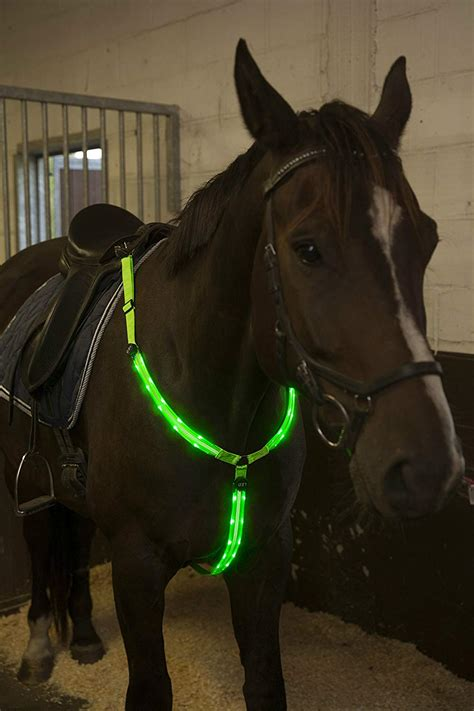 horse viz hi tack breastplate riding collar equestrian led adjustable gear visibility rechargeable horseback sturdy comfortable usb safety seen visible