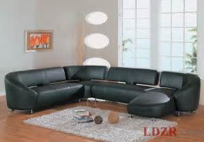 modern black leather sofa in living room home design and