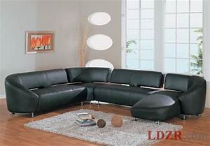 Modern black leather sofa in living room home design and for Modern living room black leather sofa