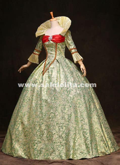 high grade green print marie antoinette dress