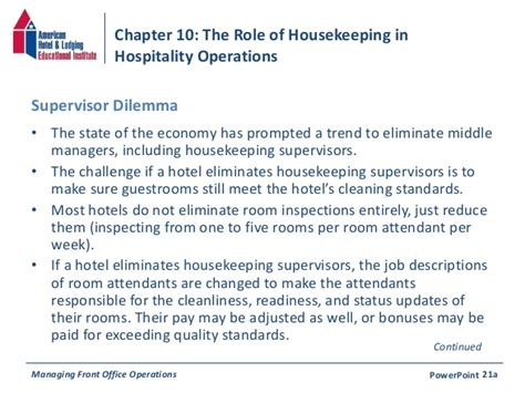 Housekeeping Coordinator Description by Chapter 10 The Of Housekeeping In Hospitality Operations