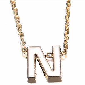 women gold plate letter name initial a z alphabet chain With letter plate necklace