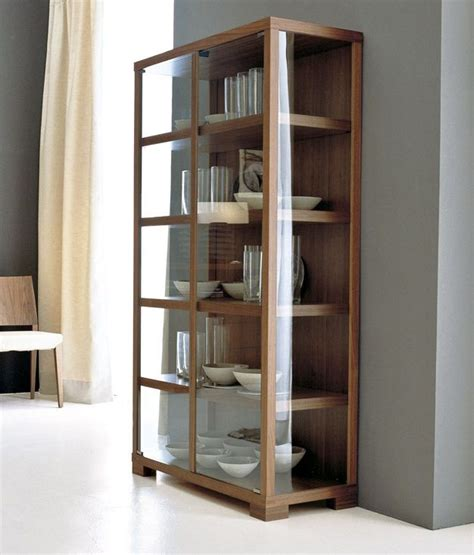 Schrank Wohnzimmer Holz by Elm Wood Glass Narrow Display Cabinet Awk2012