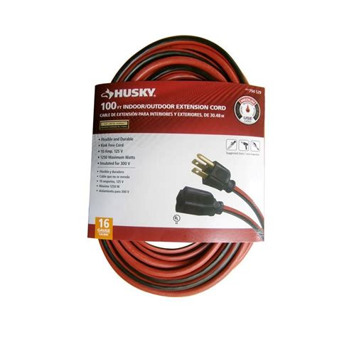 home depot l cord husky 100 ft 16 3 sjtw extension cord red and black