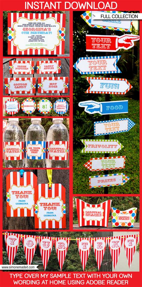 carnival party printables circus party printables