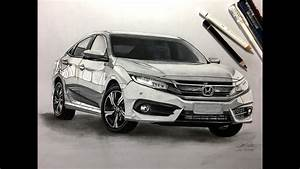 How To Draw A Car  Honda Civic 2017  Realistic