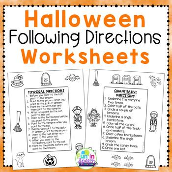 halloween  directions worksheets  fun  speech