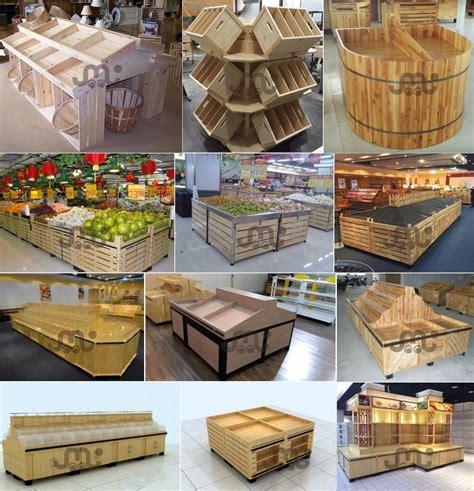 vegetable fruit dry goods handy wooden retail display rack supermarket design decorative