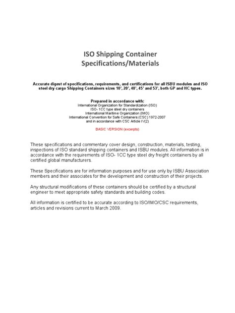ISO Container Specifications | Door | Plywood | Essai