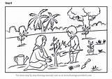Planting Tree Draw Drawing Scene Step Plantation Scenes Tutorials Learn sketch template