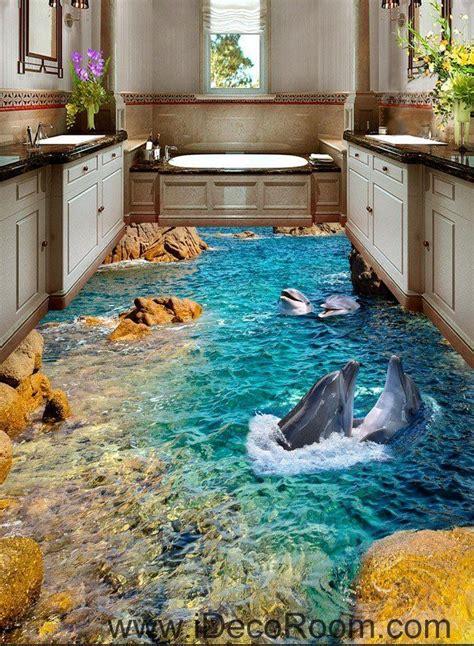 dophin bay rocks  floor decals  wallpaper wall