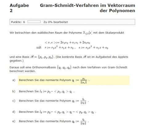 gram schmidt verfahren im vektorraum der polynomen