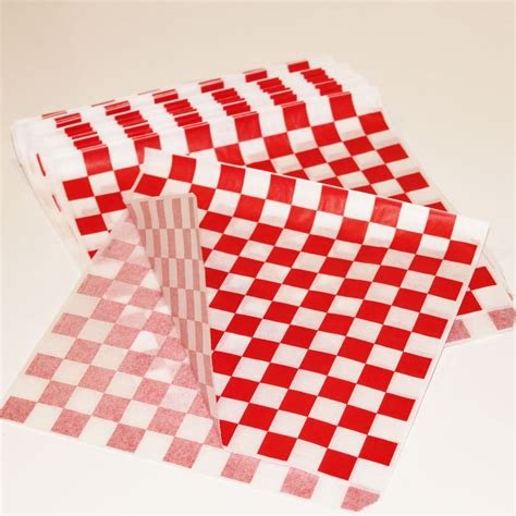 Red Check Paper Food Bags 20 Food Wrappers Pie Wrap / Bag