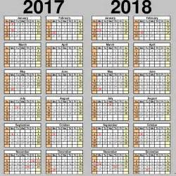 2017 2018 Calendar Printable Template