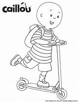 Caillou Coloring Scooter Ready Sheets Pages Learn Sheet Printables Riding Activities Fun Drawings Older Act Heading Care Books Activity Snow sketch template