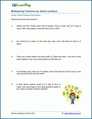 grade 4 word problem worksheets multiply fractions by