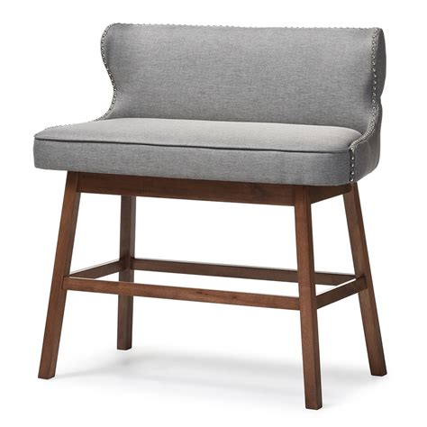 Grey Banquette Bench by Baxton Studio Gradisca Modern And Contemporary Grey Fabric