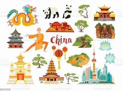 China Landmarks Vector Icons Chinese Shanghai Temple