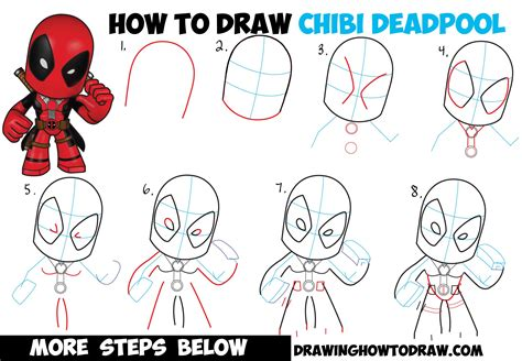 draw chibi deadpool easy step  step drawing