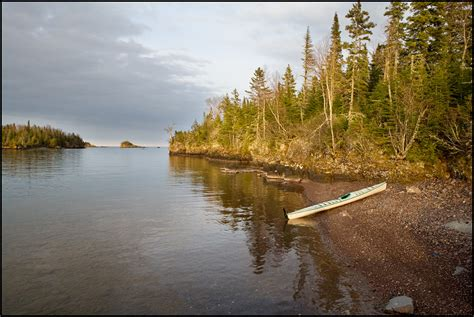 Sunset At Tookers Island, Isle Royale National Park With Kayak