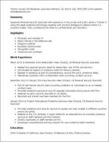 resume for personnel professional personnel security specialist templates to showcase your talent myperfectresume
