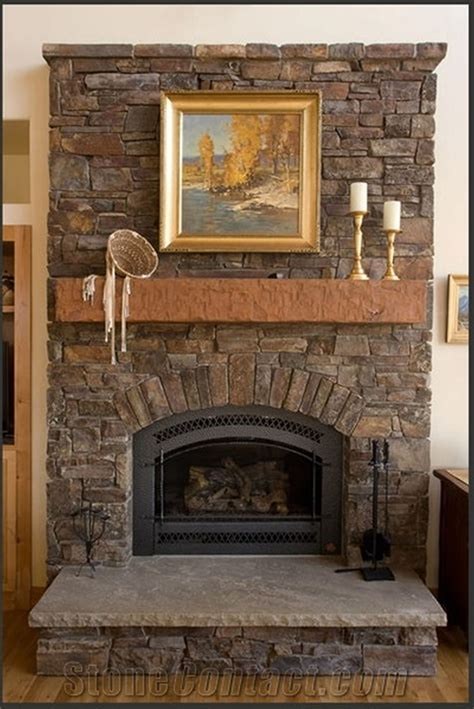 Architecture Fireplace Stone With Wooden Mantle Also Stone