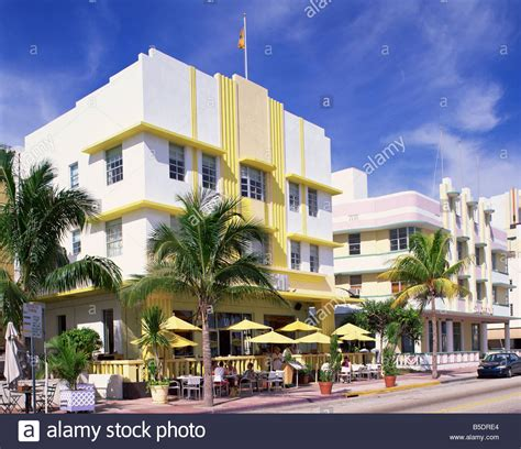 outdoor cafe in front of the leslie hotel drive deco stock photo royalty free image