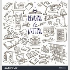 Reading Writing Items Collection Books Magazines Stock Vector 336971972 Shutterstock
