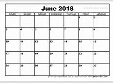 Calendar June 2018 Calendar
