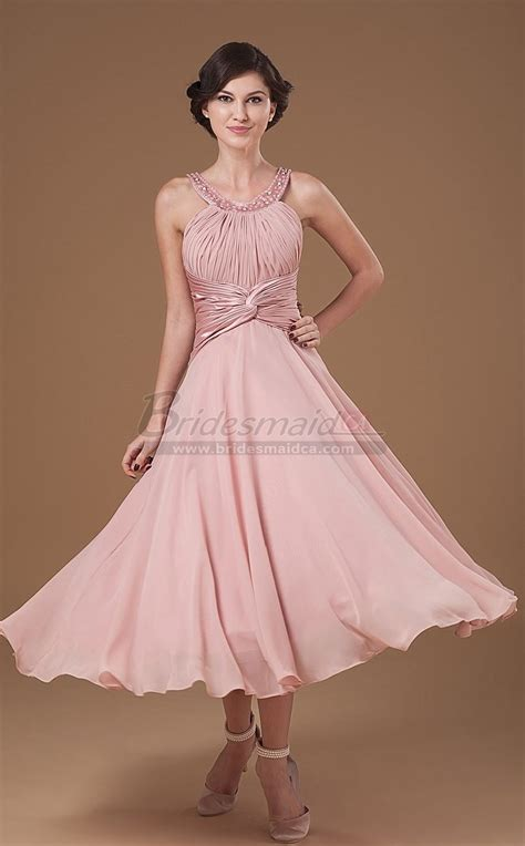 tea length chiffon scoop neckline nude pink vintage mother