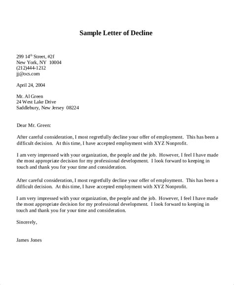 letter  decline job offer rejection letter    sa