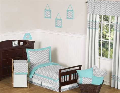 Turquoise Chevron Bedding by Turquoise And Gray Chevron Zig Zag Toddler Bedding 5pc