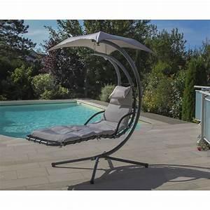 Hamac Suspendu Sur Pied : chaise longue suspendue avec ombrelle gris relax 1 les chiliennes et hamacs meubles de ~ Teatrodelosmanantiales.com Idées de Décoration