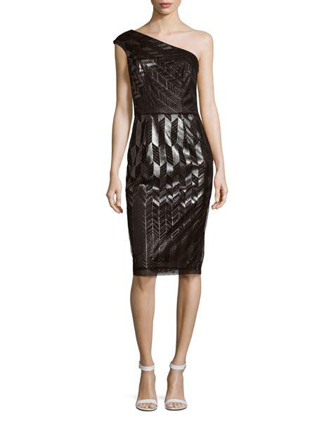 patterned one shoulder dress david meister patterned one shoulder dress in black lyst