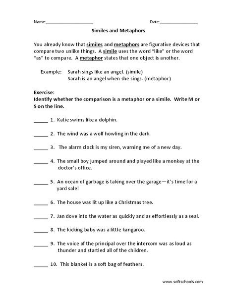 identifying similes and metaphors worksheet worksheets for