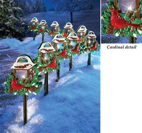 christmas cardinal lantern path lights set