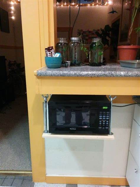 how to hang a microwave under a cabinet hanging microwave shelf 5 steps with pictures